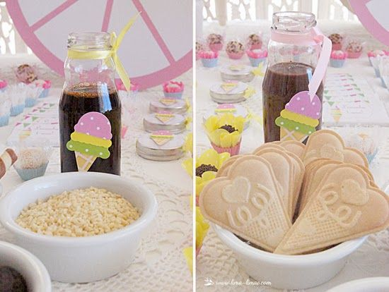Ice-cream was served to the guest and they could choose the toppings from the table for this ice-cream party