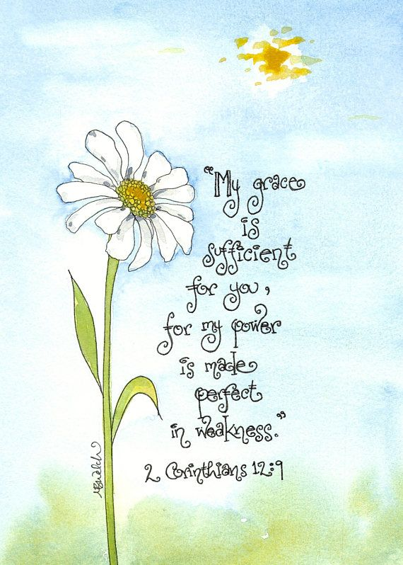 2 Corinthians 12 9 Scripture Art with Daisy, Print of Watercolor, peaceful Christian art, encouragement, sympathy, teen decor or gift   – Daisies