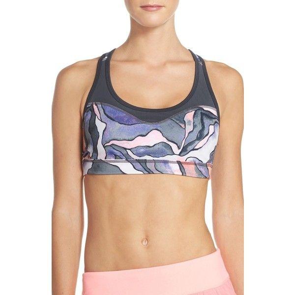 Women's Zella 'Curve' Sports Bra (44 NZD) ❤ liked on Polyvore featuring activewear, sports bras, grey graphite watercolor, zella, zella sports bra, racer back sports bra, zella activewear and zella sportswear