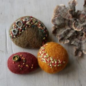 Lisa Jordan -- felt and embroidery over stones