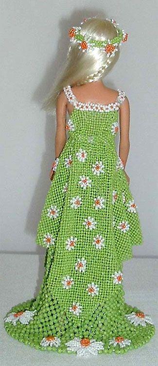 Beaded daisies doll dress by Shulamit Grintsaig