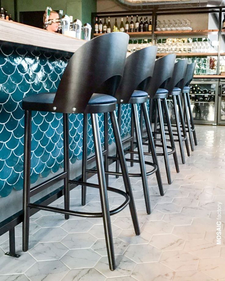 Beautiful Restaurant Bar Front With Teal Scallop Zellige Tiles From Mosaic Factory The Fish Scale Shaped Moroccan Ti Restaurant Tiles Bar Tile Fish Scale Tile