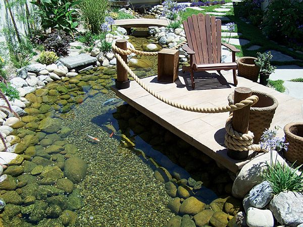 17 best images about creek bed on pinterest gardens for Koi pond deck