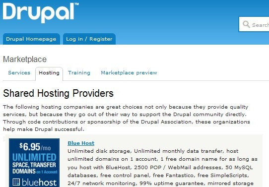 best Content Management System web hosting recommended by Drupal official and Concrete5 official