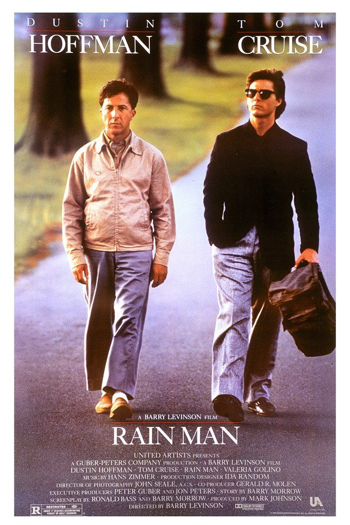 """Rain Man"" (1988).  Relationship between a selfish yuppie  and his autistic savant brother. I'd forgotten about this film, and really liked it the second time around."