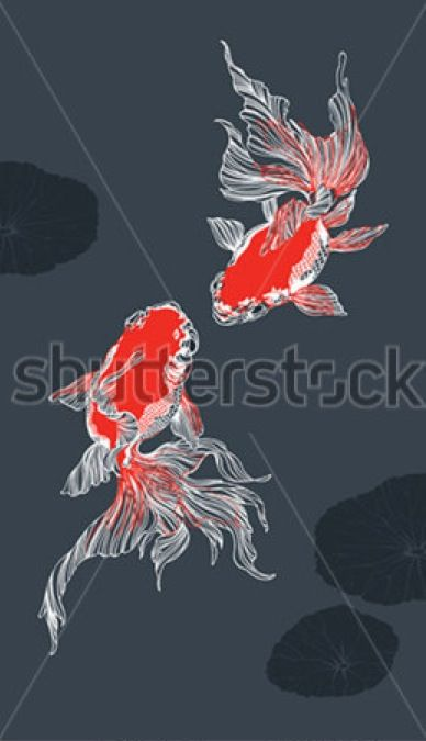 Golden fish - vector by Mikhail Kovalev #illustration #fish #chinese #minimalistic #red #black #ink