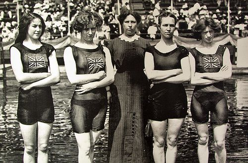 TEAM GB - Since 1896. Our fantastic Olympic Athletes, now very world famous. Here our female swimmers in very racy see-through cossies in Stockholm 1912. 1st females gold winners