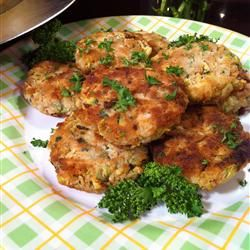 """Connie's Zucchini """"Crab"""" Cakes.  I added some canned salmon to up the protein & increased the Old Bay. Make sure to squeeze out ALL the water from the squash/zucchini. Also, I baked as suggested in the comments instead of frying. Will absolutely make these again."""