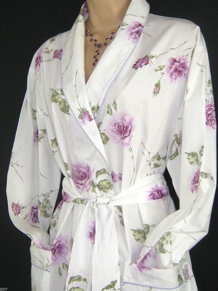 LAURA ASHLEY VINTAGE LILAC ROSE POPLIN MORNING ROBE/DRESSING GOWN, LARGE - NWOT