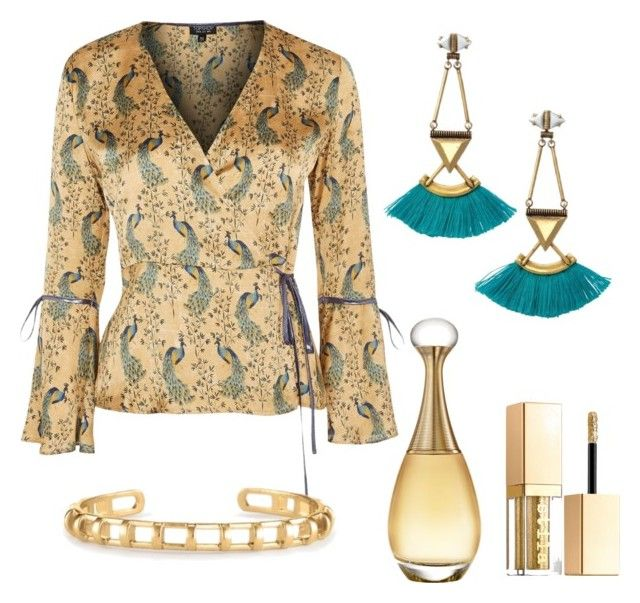 """""""Peacock"""" by clairek-fashion on Polyvore featuring Jewellery from Stella & Dot, Topshop, Christian Dior and Stila"""