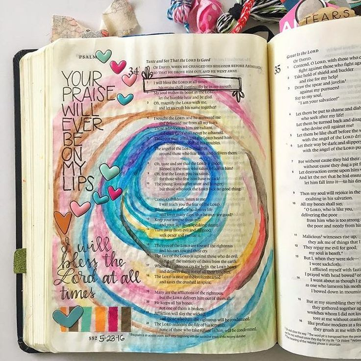 What is your favorite Psalm?    My favorite Psalm is Psalm 34...even when I first became a Christian at 9 years old, this was my favorite Psalm. There is something about it that draws me in! This Bible journaling entry comes from Grace Cohen Veenker, a member of the Bible Journaling Community. (used with permission)