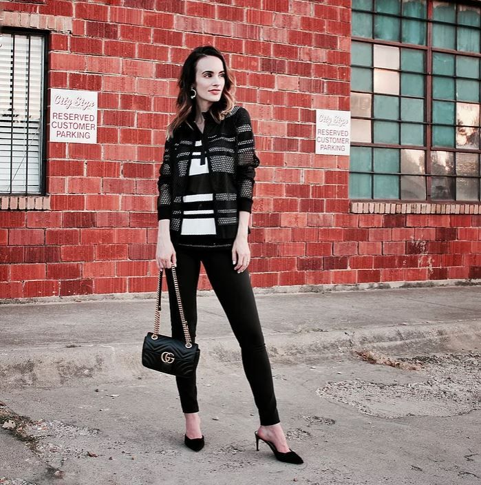 HILLARY MASTERSON from @thedailyglance is our #CasualStyled blogger - wearing the JET cardigan, JACKIE polo tee and JAMETA tunic from the Anne Fontaine Casual Collection. Shop this look at AnneFontaineCasual.com
