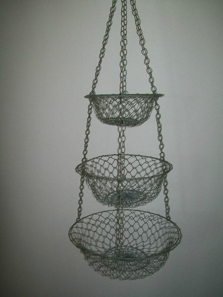 Grey Kitchen Mesh Woven Metal Wire 3 Tier Hanging Fruit Veggie Storage Basket Baskets Hanging