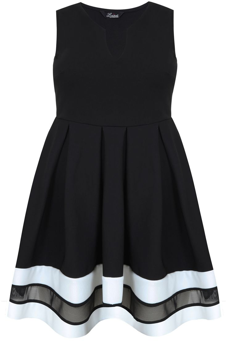 Black, White & Mesh Block Skater Dress plus size 14,16,18,20,22,24,26,28,30,32