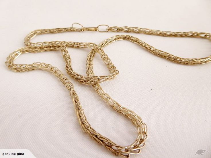 Long handmade in Mexico knitted Sterling silver chain