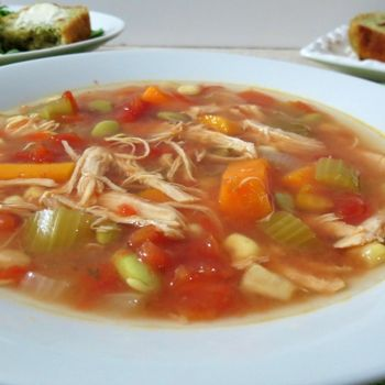 Chicken Vegetable Soup - Crockpot. 4 hrs. High or 8 hrs. Low. 2 frozen chicken breasts and your choice of veggies with chicken broth Did 6 cups chicken broth and extra veggies.