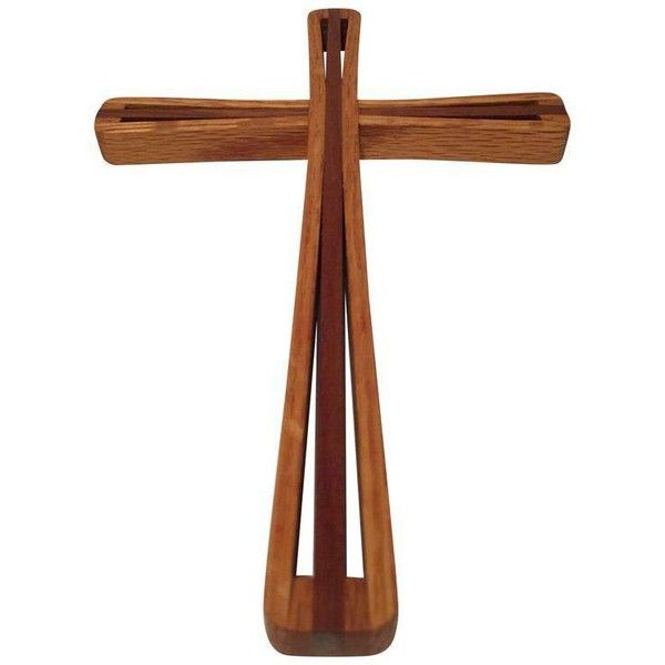 Mid-Century Modern Crucifix Wood Craftsman/Artist Made ($59) ❤ liked on Polyvore featuring home, home decor and sculptural wall objects