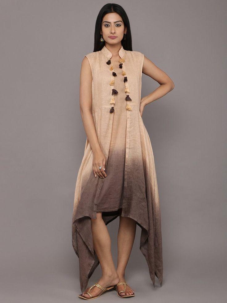 Beige Brown Linen Dress with Jacket - Set of 2