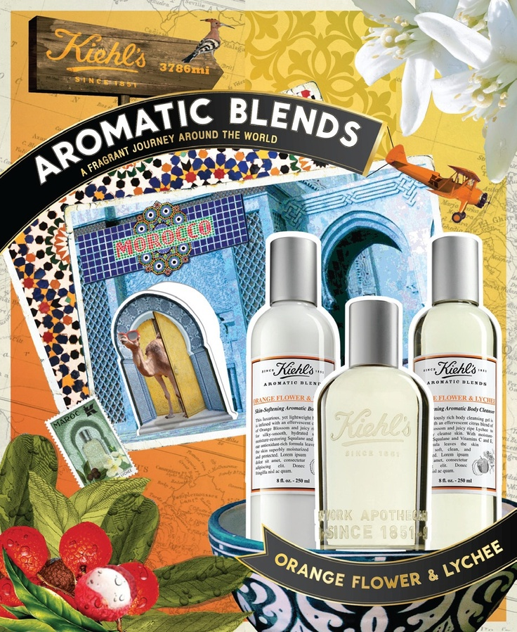 #Kiehls #AromaticBlends Orange Flower & Lychee, complete with a fragrance, skin–softening body cleanser and lotion, is inspired by the scent of a late afternoon at a Moroccan garden.