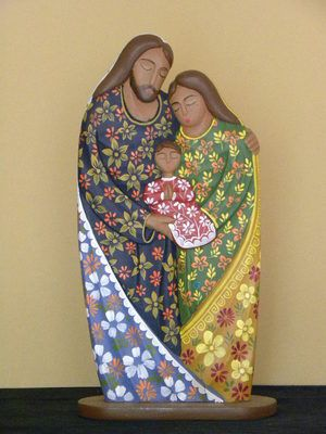 "Holy Family 8 x 15"" One Piece Wooden Nativity Set 