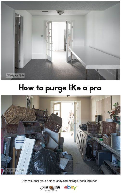 How to purge like a pro... and win back your home! With repurposed organizing and storage ideas. By Funky Junk Interiors for ebay.com