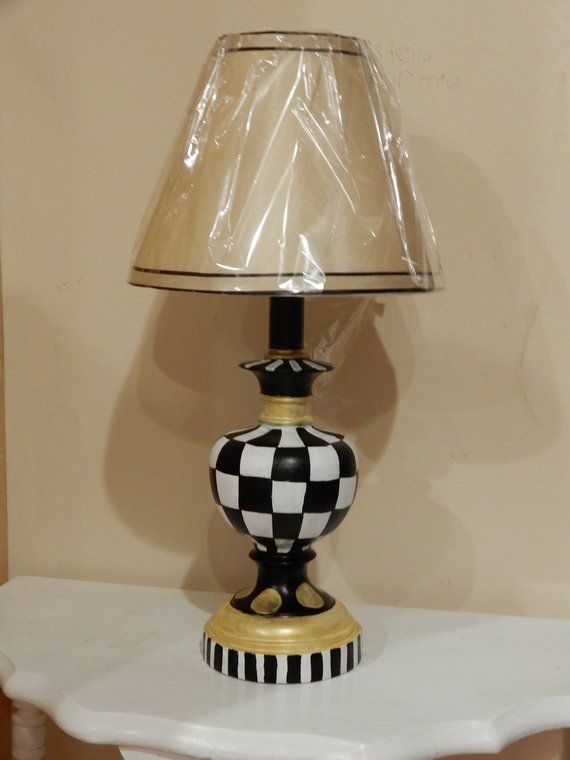 This Is My Hand Painted Accent Lamp That I Painted Using Black White And Gold Acrylics This Unique Lamp Will Add The Perfect Painting Lamps Lamp Accent Lamp