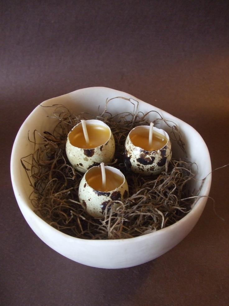 Rustic Quail Egg Candles