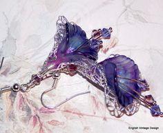 Lucite Flower Earrings, Victorian Earrings, Boho Earrings, Drop Earrings, Handmade Earrings, Purple Dangle Earrings, Hand Painted. Vintage