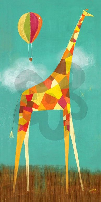 """""""Too Tall Giraffe"""" Canvas Wall Art from Oopsy Daisy, Fine Art for Kids. Multiple sizes and framing options available. Browse our entire collection of wall art for kids!"""