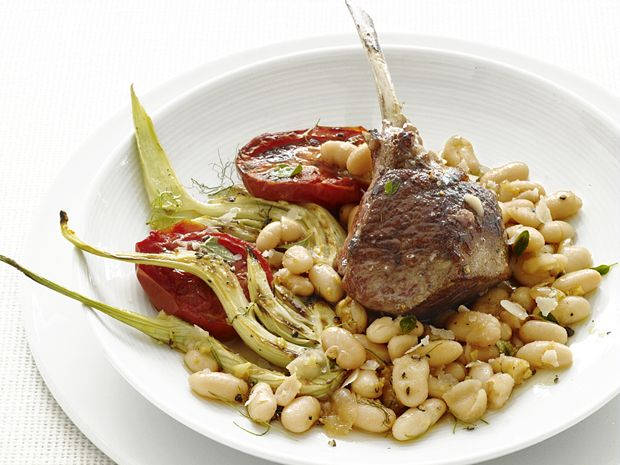 Food Network Magazine's Lamb Chops with Fennel and Tomatoes #Protein #MyPlate: Kitchens Photo, Best Recipes, Dinners Recipes, Beans Salad, Lamb Chops, Tops Recipes, Grilled Recipes, Beans Dinners, Tomatoes Recipes