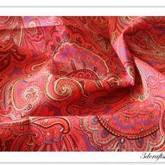 72cm x 50cm modèle bohème rouge tissus à motifs  en coton pour couture provisions   337