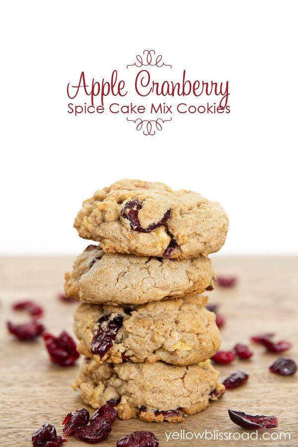 Cranberry Apple Spice Cake Mix Cookies