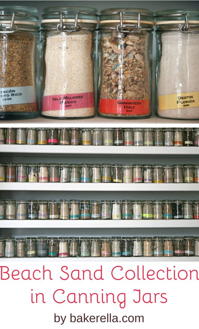 Beach Sand Collection In Canning Jars By Bakerella Dozens Of With From Beaches Around The World Displayed On A Shelves