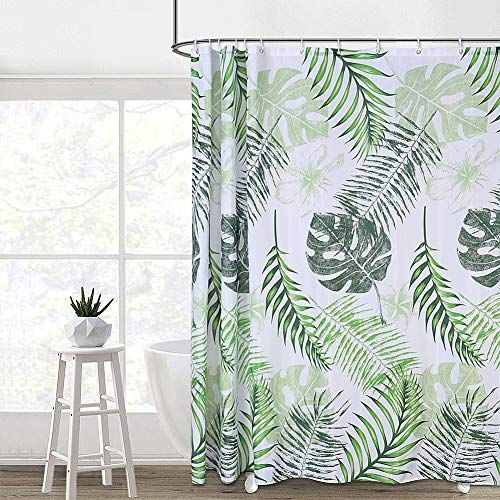 Caromio Tropical Palm Leaves Fabric Shower Curtain Set For