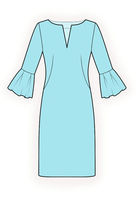 Dress With Decorative Cuffs - Sewing Pattern #4213. Made-to-measure sewing pattern from Lekala with free online download.