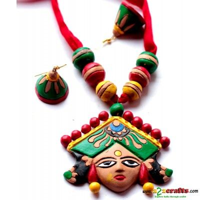 Terracotta Goddess 3pc pendent set - Terracotta - Rs. 415 - Hand Made Crafts - Buy & Sell Indian Handmade Crafts and Handmade terracotta, dokra Jewelry and Gifts
