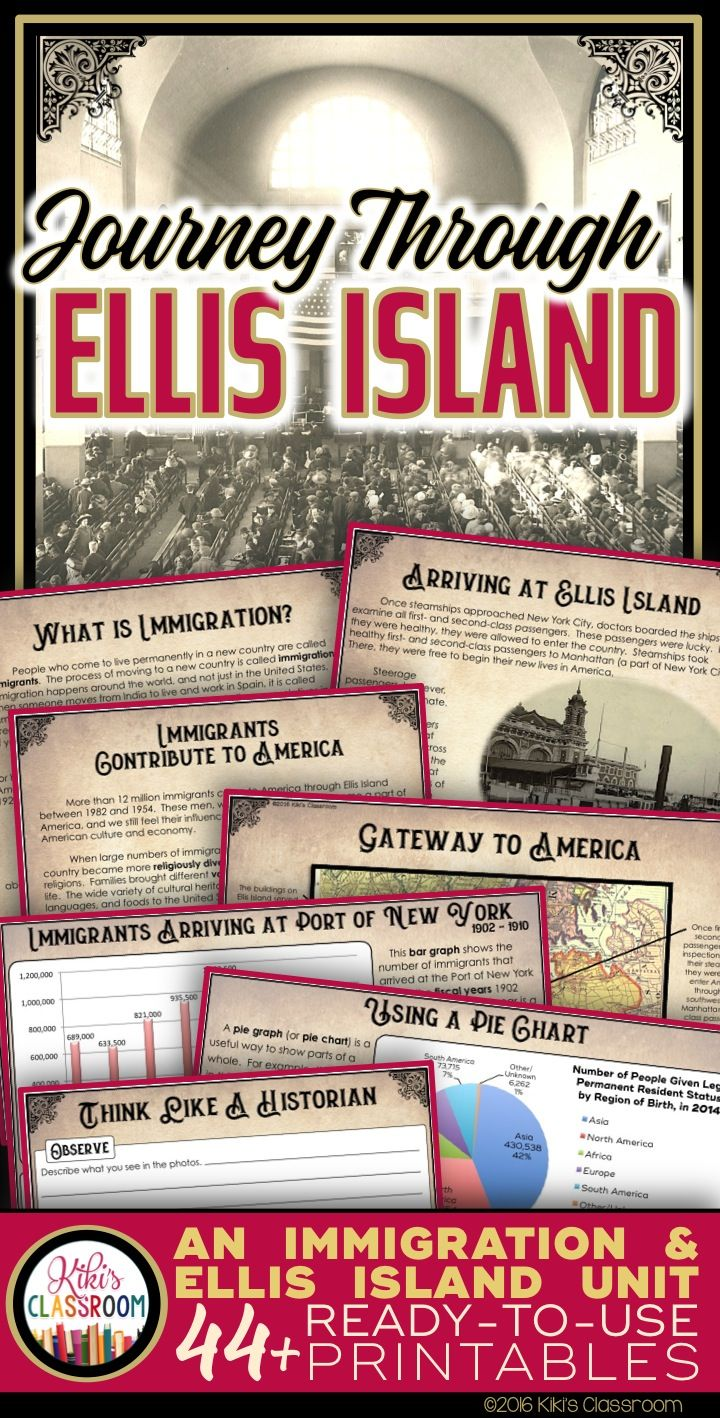 Ellis Island and the Immigrant Experience in the Early 1900s ~ A Complete Unit w/ Reading Passages, Primary Source Materials, Activities, & More