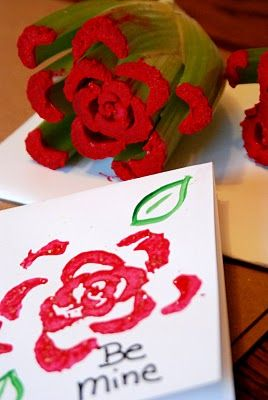 Homemade Serenity: Why Don't You Make Celery Stamped Valentine's Day Cards