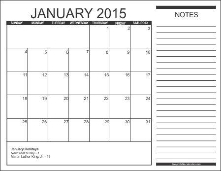 Monthly Calendar With Note Section Using This For