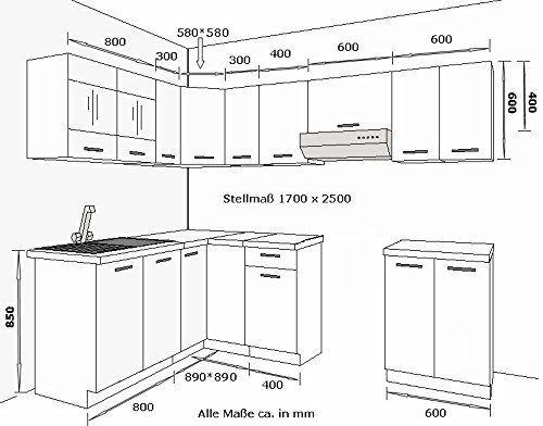 Eckküche Küche Omega 170x250 cm Küchenzeile Küchenblock Winkelküche Schwarz Weiß: Amazon.de: Küche & Haushalt