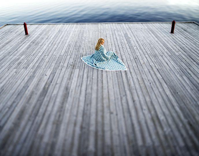 HONEY blanket, turquoise/vanilla, Pappelina