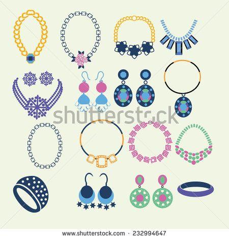 Vector Set of jewelry women accessories - Illustration