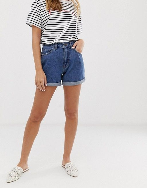 5c1c549ad Shop Vero Moda Petite high waist mom short in blue at ASOS. Discover  fashion online.
