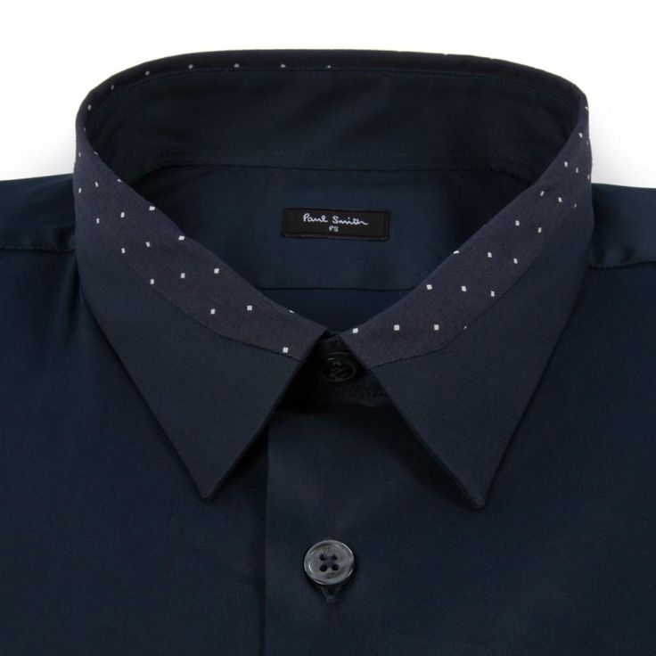 Paul Smith Men's Shirts | Navy Contrast Collar Shirt