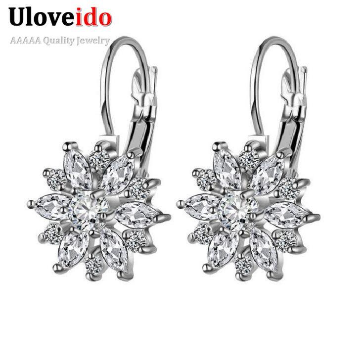 Uloveido Koreaanse Mode Luxe Sneeuw Bloem Zirconia Bruiloft Oorbellen Stud Crystal Voor Vrouwen 2016 Boucle D' Oreille BME117