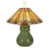 Hampshire oil lamp base, original leaded paneled shade with floral design over the pinched base with green glaze
