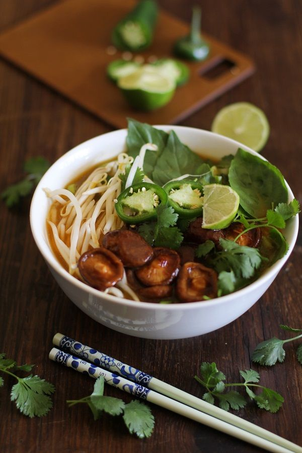 This vegetarian pho is made with a simple ginger broth, which makes it perfect for a busy weeknight dinner. We've replaced the beef with meaty shiitakes.