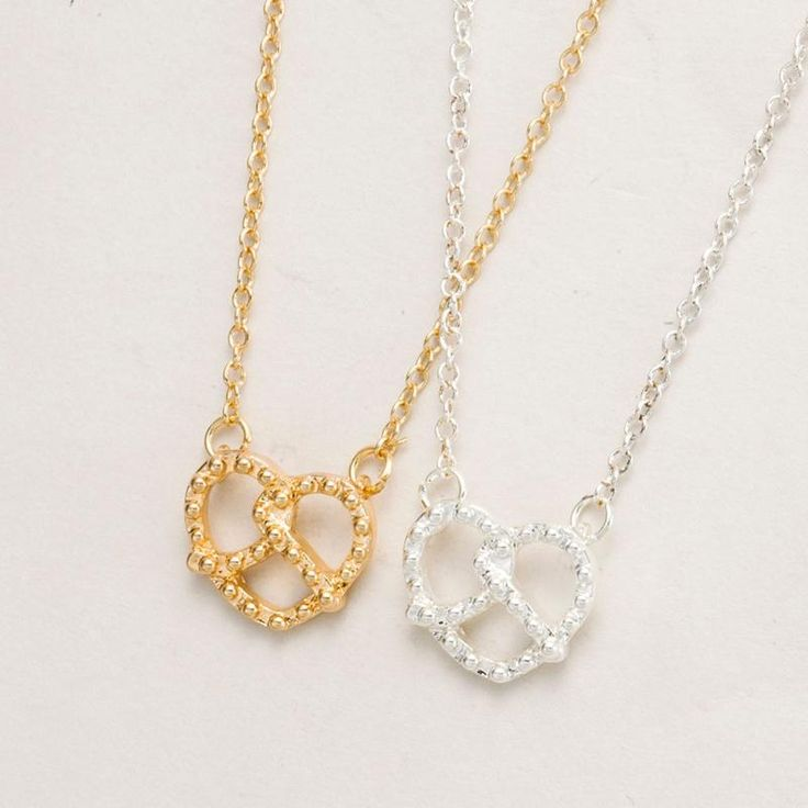 New Fashion Design Jewelry Gold Plated Tiny Pretzel Heart Necklaces for Women 30pcs-N040