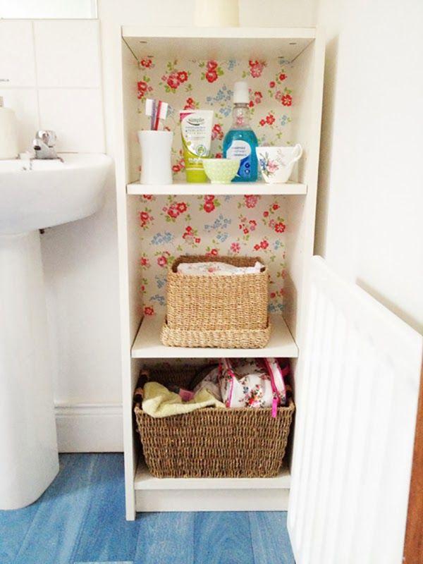 Cath Kidston Wallpaper Backed Ikea Billy Cabinet. // Forrar el fondo del mueble Billy de IKEA con papel pintado de flores de Cath Kidston.