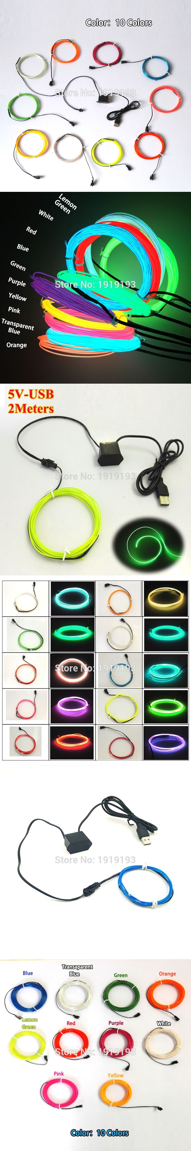 Hot Sales 1.3mm 2Meter Flexible Neon Light  LED Strip EL Wire with USB Controller For Party Festival Wedding Decoration